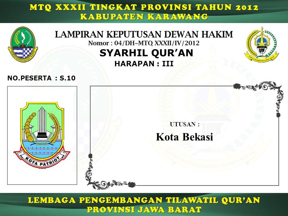 SYARHIL QUR'AN HARAPAN : III NO.PESERTA : S.10 UTUSAN : Kota Bekasi