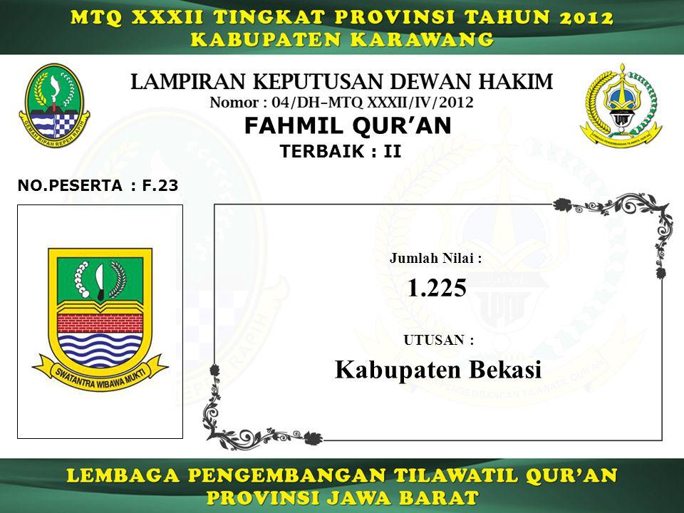 1.225 Kabupaten Bekasi FAHMIL QUR'AN TERBAIK : II NO.PESERTA : F.23