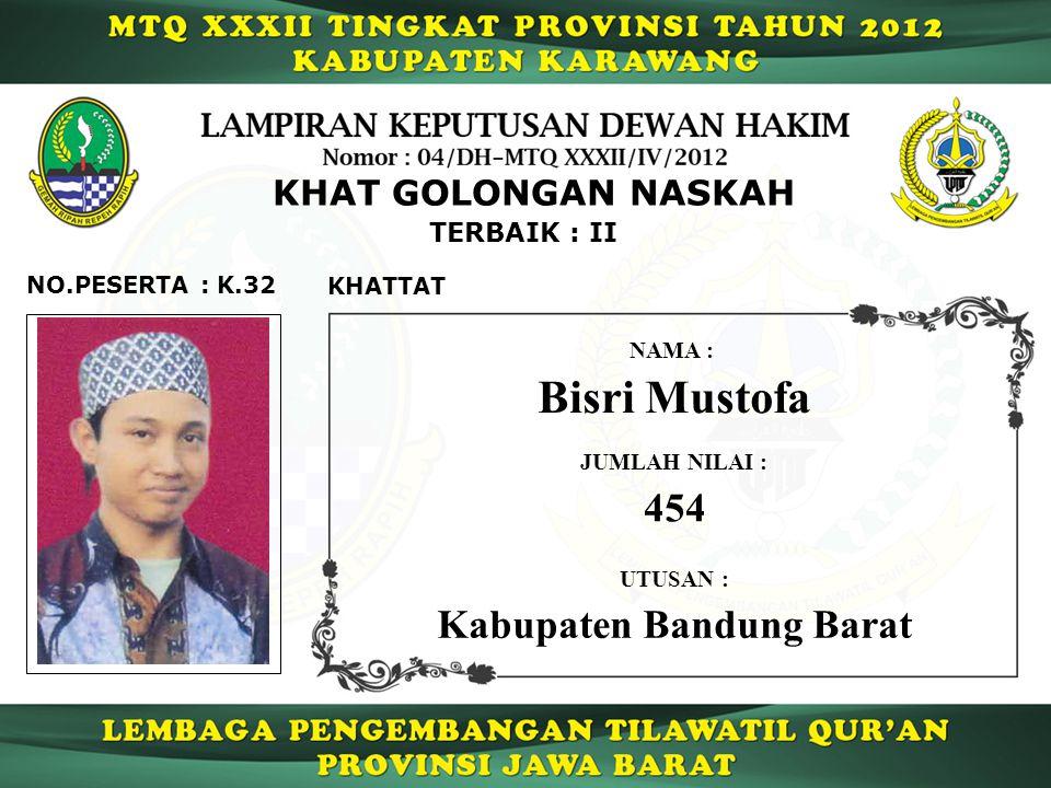 Bisri Mustofa 454 Kabupaten Bandung Barat KHAT GOLONGAN NASKAH