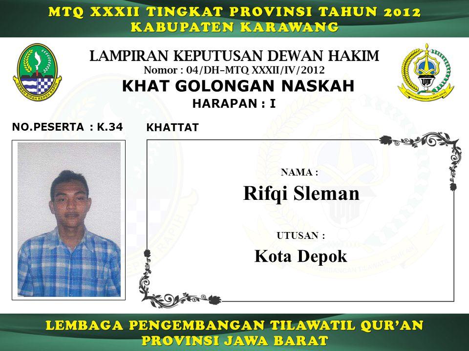 Rifqi Sleman Kota Depok KHAT GOLONGAN NASKAH HARAPAN : I NO.PESERTA :
