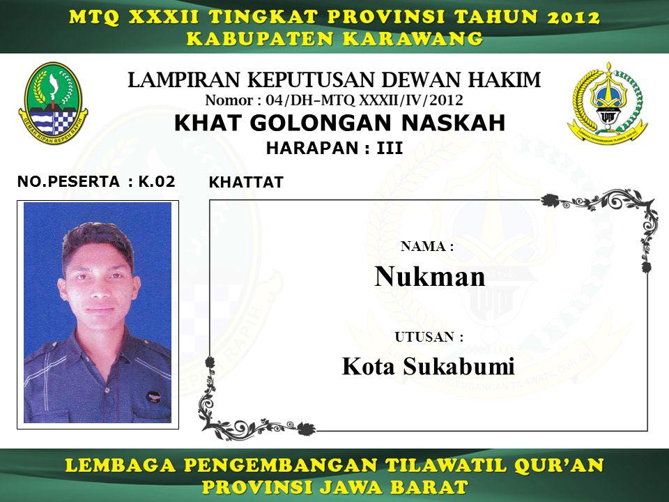 Nukman Kota Sukabumi KHAT GOLONGAN NASKAH HARAPAN : III NO.PESERTA :