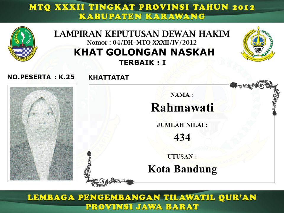 Rahmawati 434 Kota Bandung KHAT GOLONGAN NASKAH TERBAIK : I