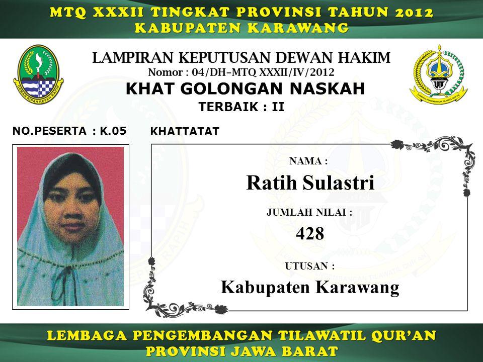 Ratih Sulastri 428 Kabupaten Karawang KHAT GOLONGAN NASKAH