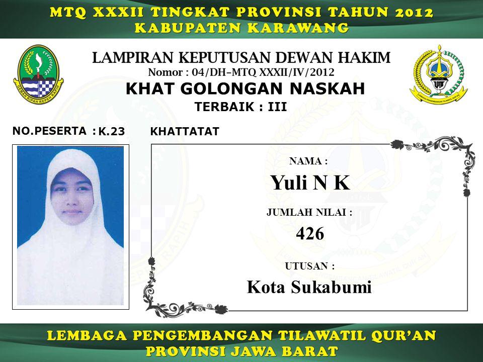 Yuli N K 426 Kota Sukabumi KHAT GOLONGAN NASKAH TERBAIK : III