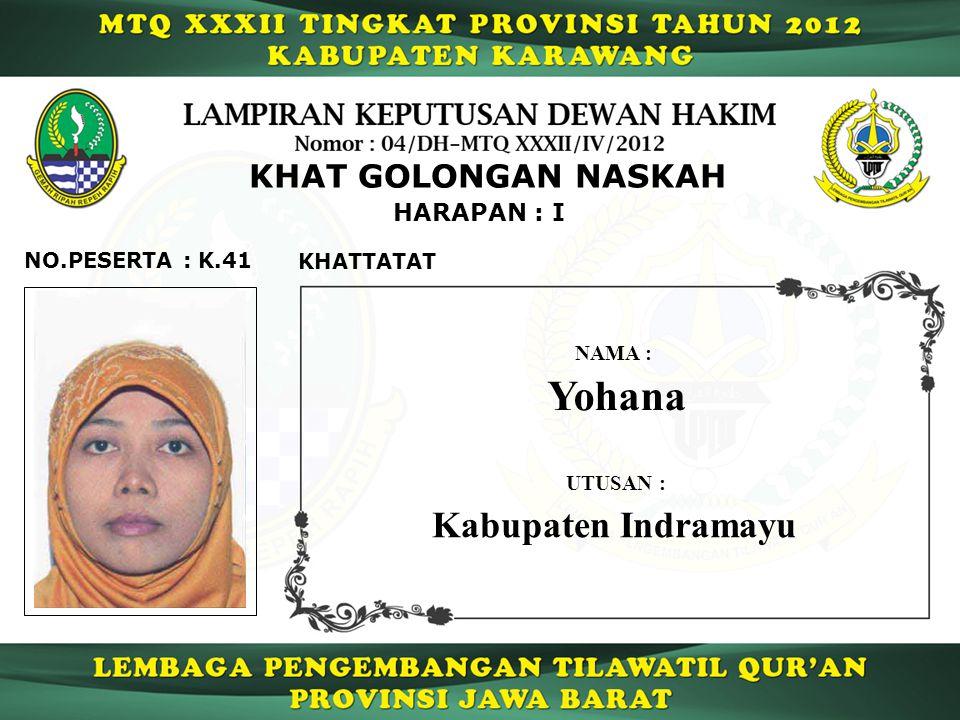 Yohana Kabupaten Indramayu KHAT GOLONGAN NASKAH HARAPAN : I