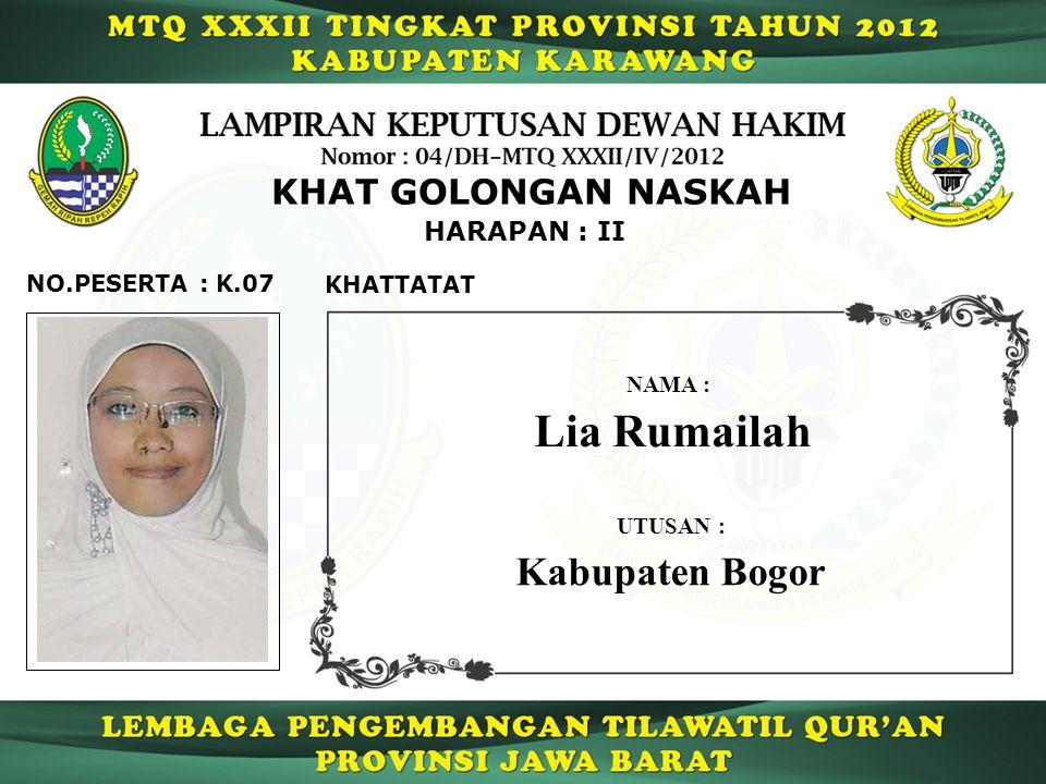 Lia Rumailah Kabupaten Bogor KHAT GOLONGAN NASKAH HARAPAN : II