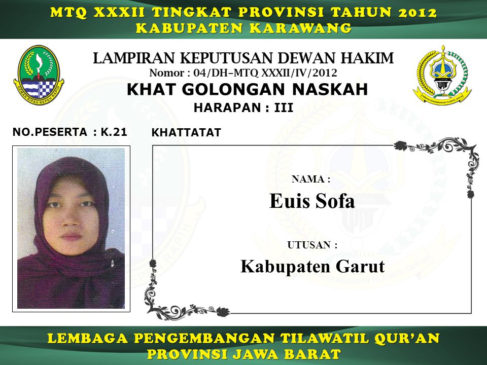 Euis Sofa Kabupaten Garut KHAT GOLONGAN NASKAH HARAPAN : III