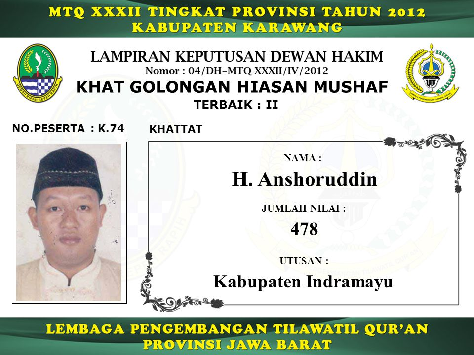 H. Anshoruddin 478 Kabupaten Indramayu KHAT GOLONGAN HIASAN MUSHAF