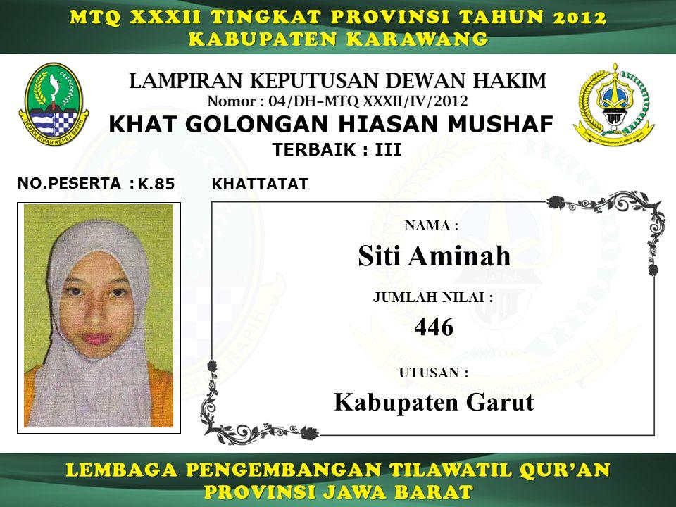 Siti Aminah 446 Kabupaten Garut KHAT GOLONGAN HIASAN MUSHAF