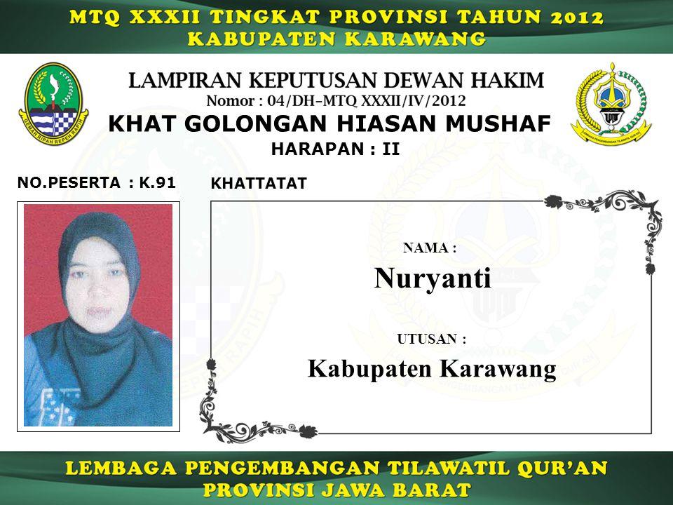 Nuryanti Kabupaten Karawang KHAT GOLONGAN HIASAN MUSHAF HARAPAN : II