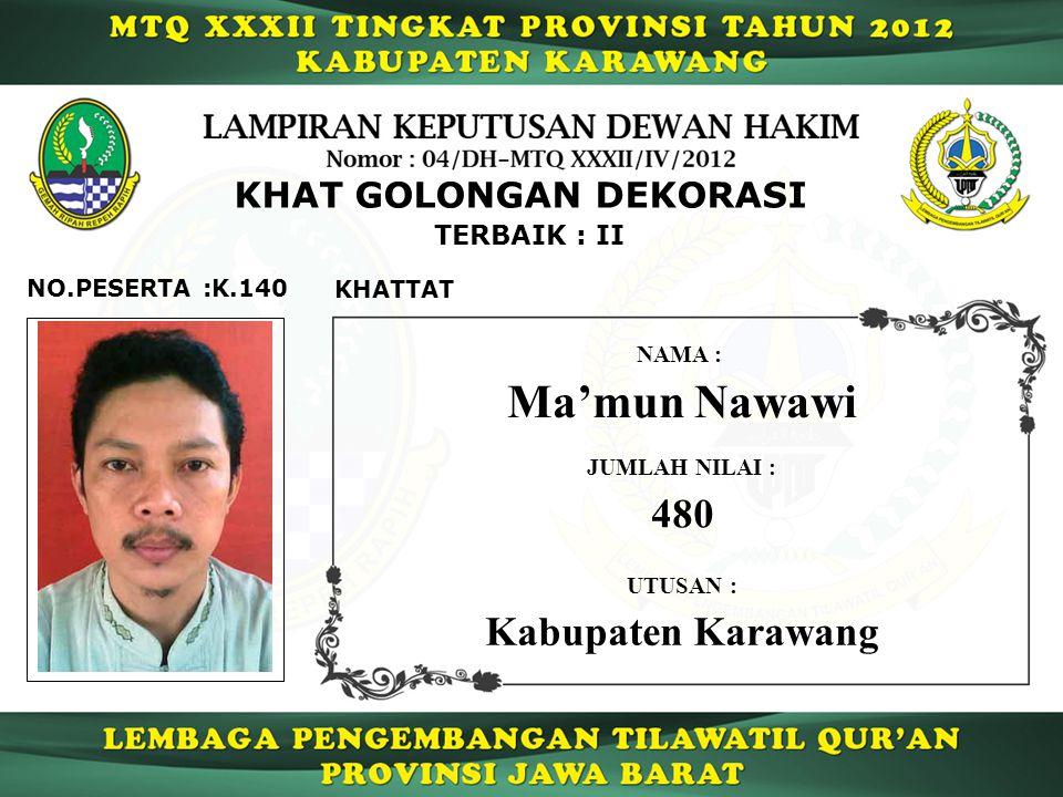 Ma'mun Nawawi 480 Kabupaten Karawang KHAT GOLONGAN DEKORASI