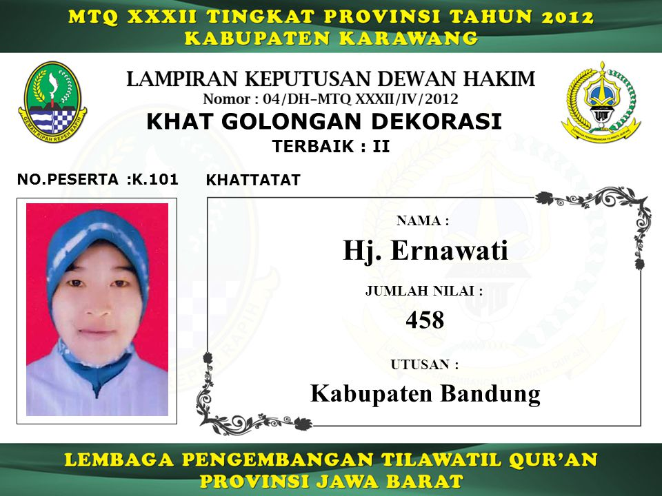 Hj. Ernawati 458 Kabupaten Bandung KHAT GOLONGAN DEKORASI TERBAIK : II