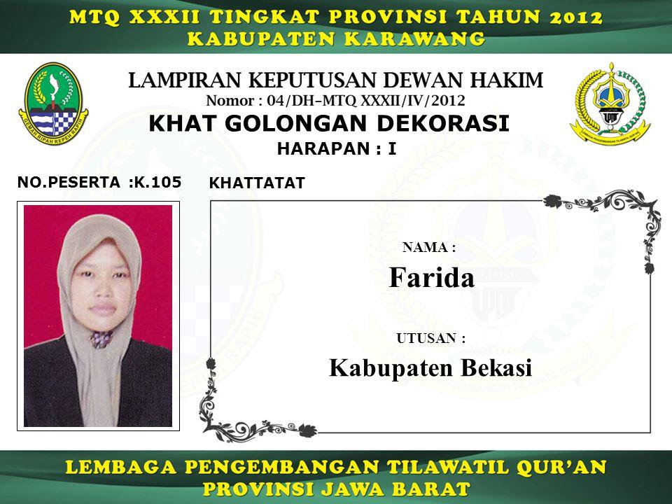 Farida Kabupaten Bekasi KHAT GOLONGAN DEKORASI HARAPAN : I
