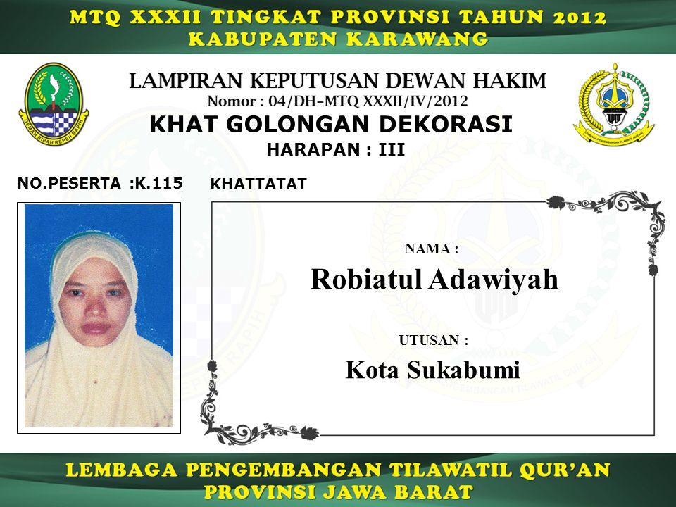 Robiatul Adawiyah Kota Sukabumi KHAT GOLONGAN DEKORASI HARAPAN : III