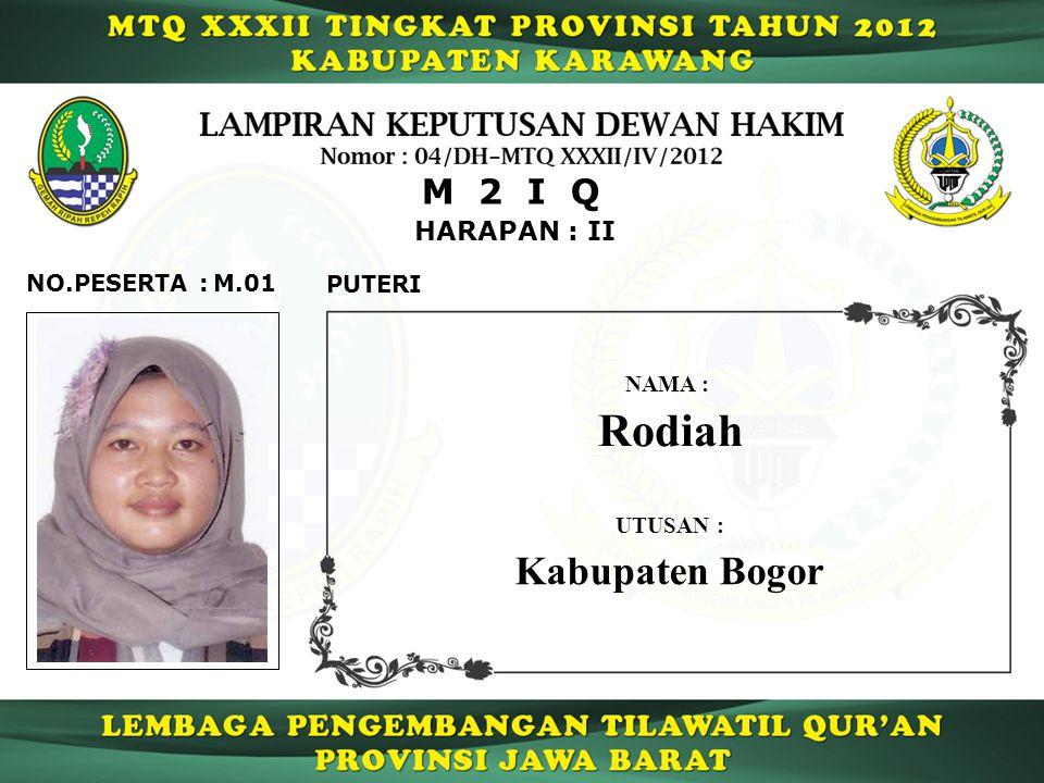 Rodiah Kabupaten Bogor M 2 I Q HARAPAN : II NO.PESERTA : M.01 PUTERI