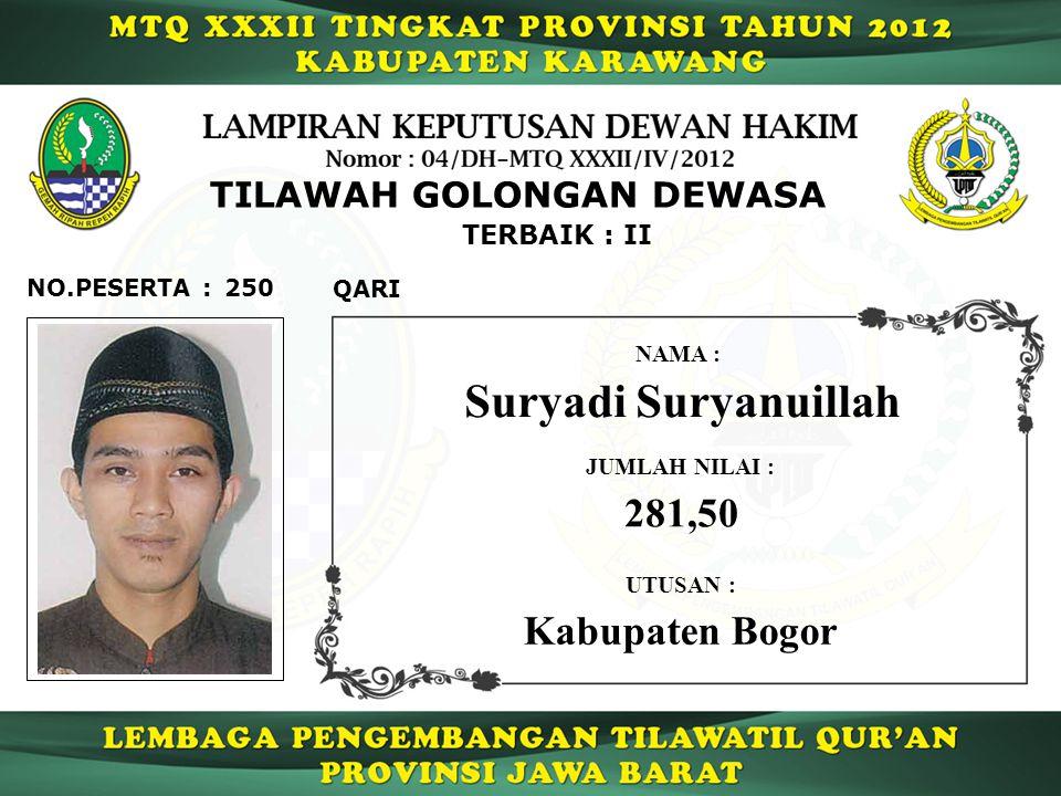 Suryadi Suryanuillah 281,50 Kabupaten Bogor TILAWAH GOLONGAN DEWASA