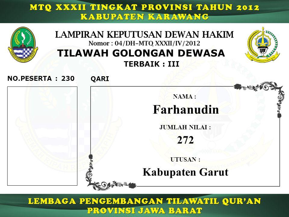 Farhanudin 272 Kabupaten Garut TILAWAH GOLONGAN DEWASA TERBAIK : III