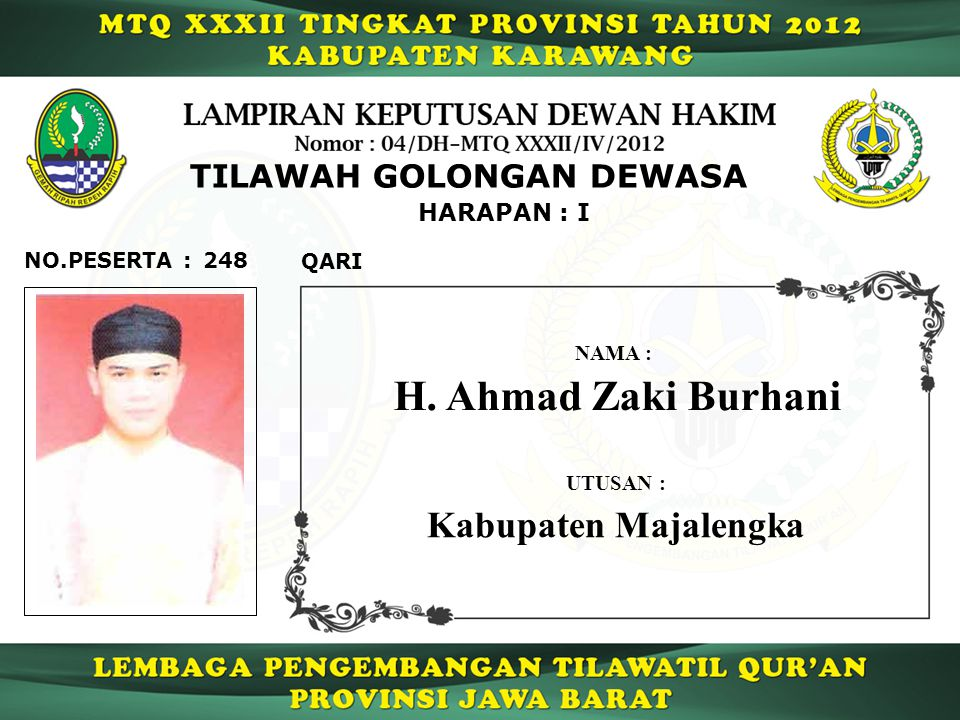 H. Ahmad Zaki Burhani Kabupaten Majalengka TILAWAH GOLONGAN DEWASA