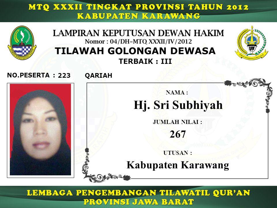 Hj. Sri Subhiyah 267 Kabupaten Karawang TILAWAH GOLONGAN DEWASA