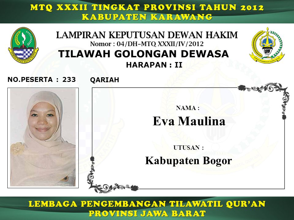 Eva Maulina Kabupaten Bogor TILAWAH GOLONGAN DEWASA HARAPAN : II