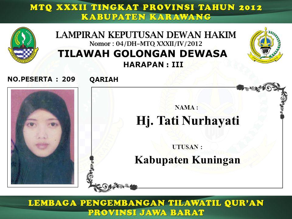 Hj. Tati Nurhayati Kabupaten Kuningan TILAWAH GOLONGAN DEWASA