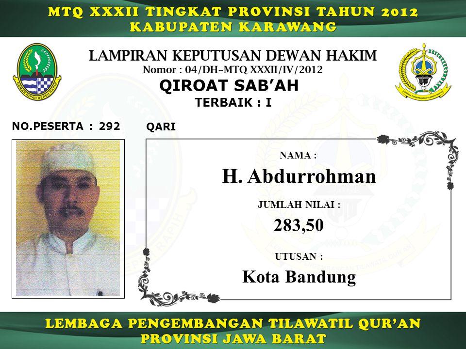 H. Abdurrohman 283,50 Kota Bandung QIROAT SAB'AH TERBAIK : I