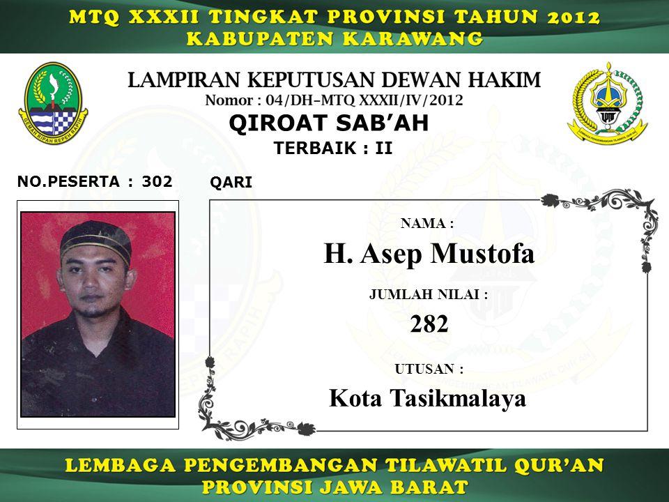 H. Asep Mustofa 282 Kota Tasikmalaya QIROAT SAB'AH TERBAIK : II