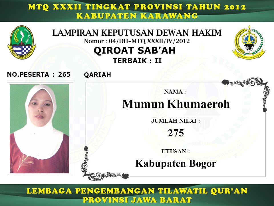 Mumun Khumaeroh 275 Kabupaten Bogor QIROAT SAB'AH TERBAIK : II