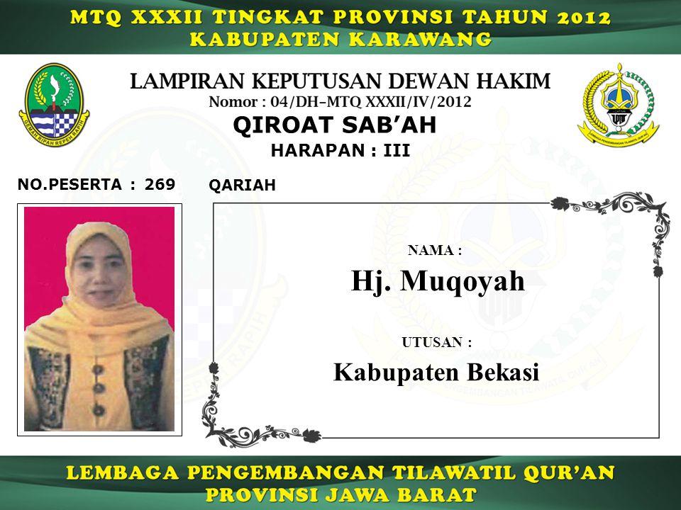 Hj. Muqoyah Kabupaten Bekasi QIROAT SAB'AH HARAPAN : III NO.PESERTA :