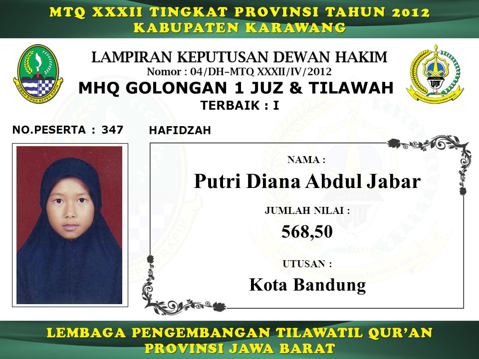 MHQ GOLONGAN 1 JUZ & TILAWAH Putri Diana Abdul Jabar