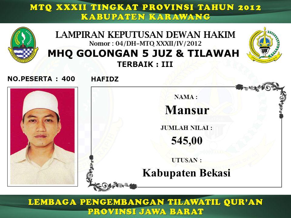 Mansur 545,00 Kabupaten Bekasi MHQ GOLONGAN 5 JUZ & TILAWAH