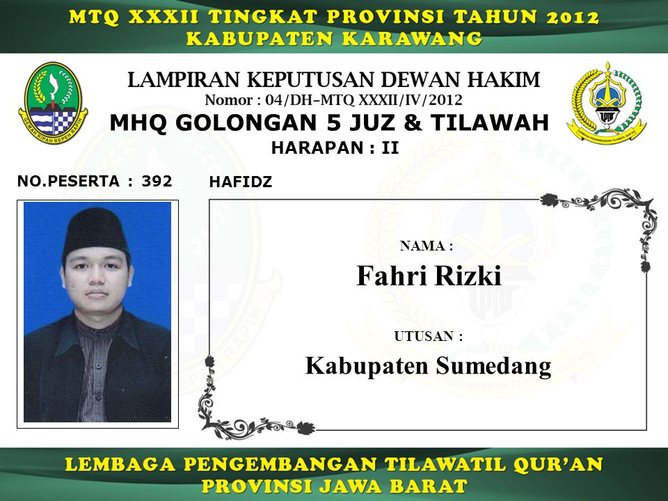Fahri Rizki Kabupaten Sumedang MHQ GOLONGAN 5 JUZ & TILAWAH