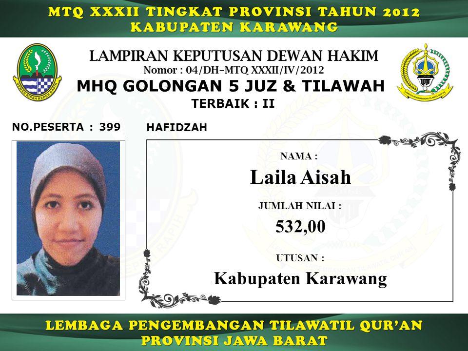Laila Aisah 532,00 Kabupaten Karawang MHQ GOLONGAN 5 JUZ & TILAWAH