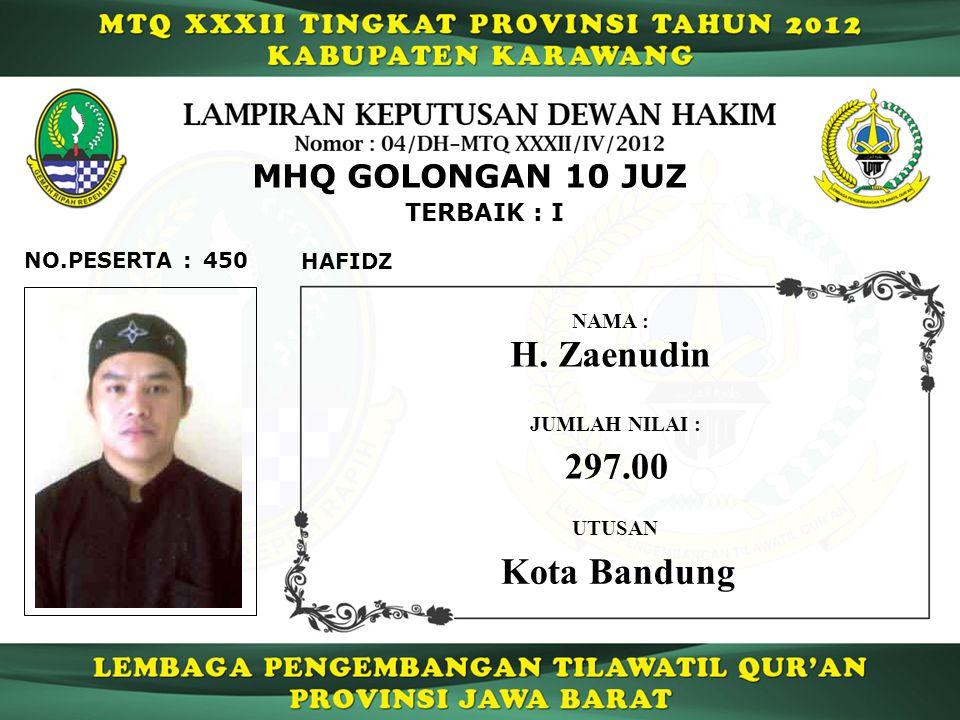 H. Zaenudin 297.00 Kota Bandung MHQ GOLONGAN 10 JUZ TERBAIK : I