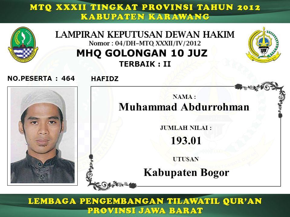 Muhammad Abdurrohman 193.01 Kabupaten Bogor MHQ GOLONGAN 10 JUZ