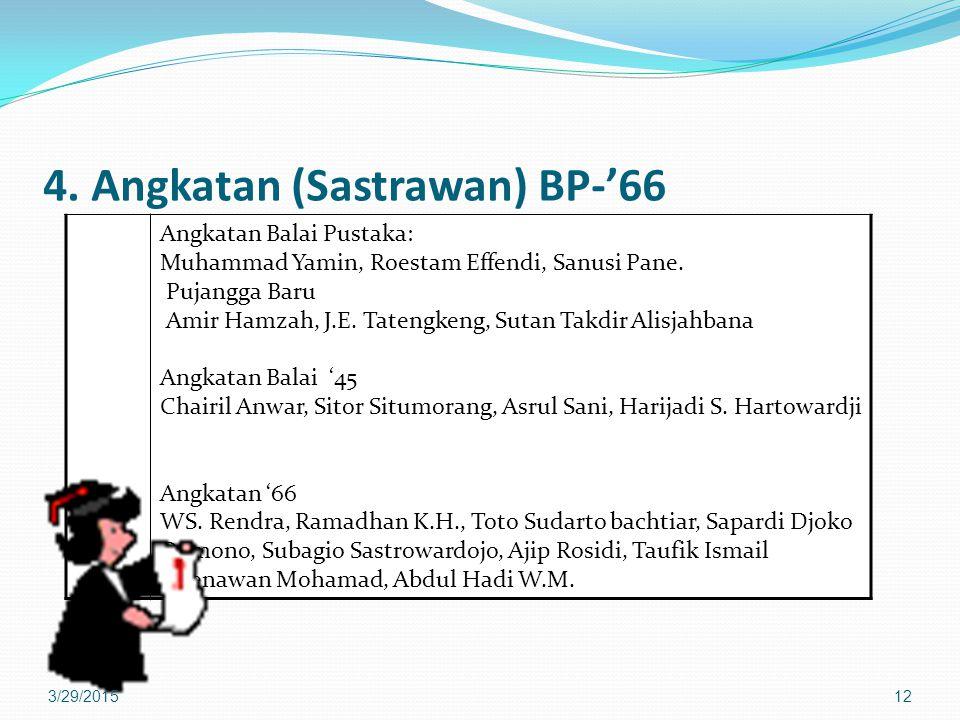 4. Angkatan (Sastrawan) BP-'66