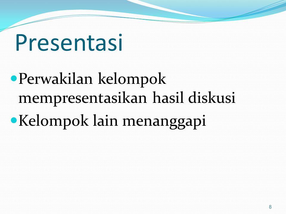 Presentasi Perwakilan kelompok mempresentasikan hasil diskusi