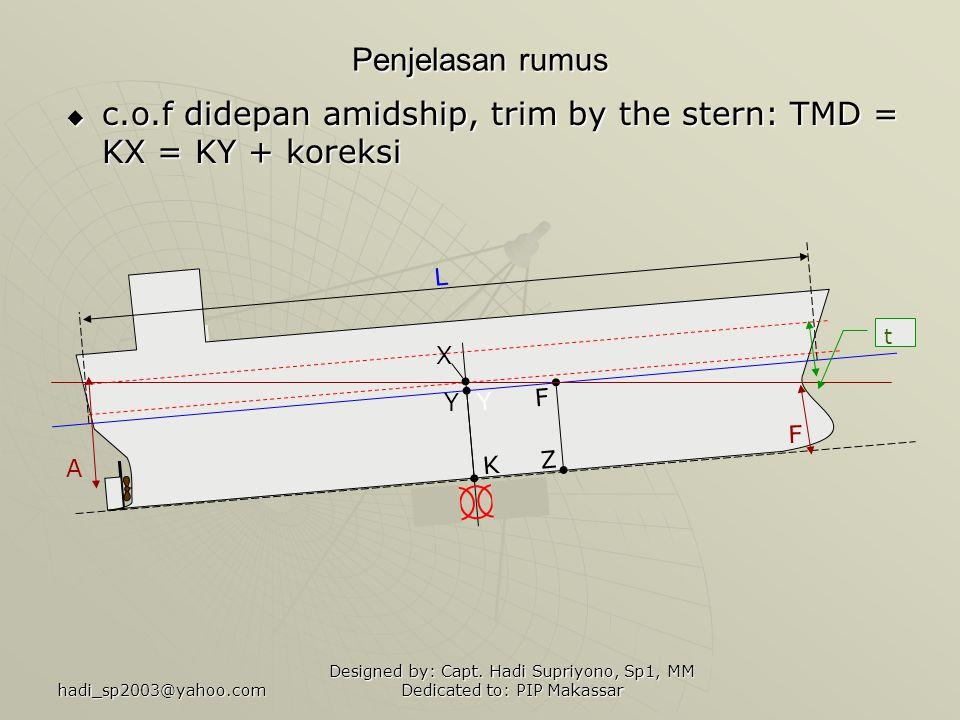 c.o.f didepan amidship, trim by the stern: TMD = KX = KY + koreksi