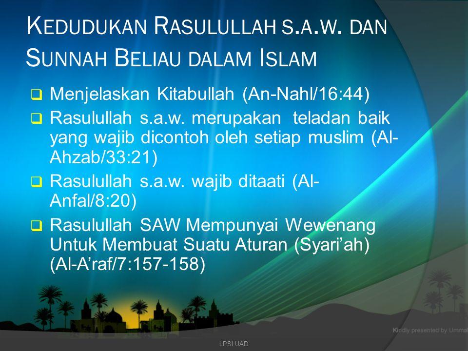 Kedudukan Rasulullah s.a.w. dan Sunnah Beliau dalam Islam