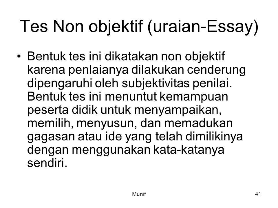Tes Non objektif (uraian-Essay)