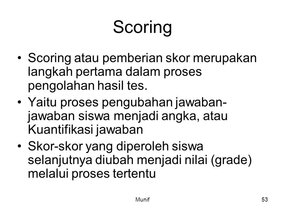 Scoring Scoring atau pemberian skor merupakan langkah pertama dalam proses pengolahan hasil tes.