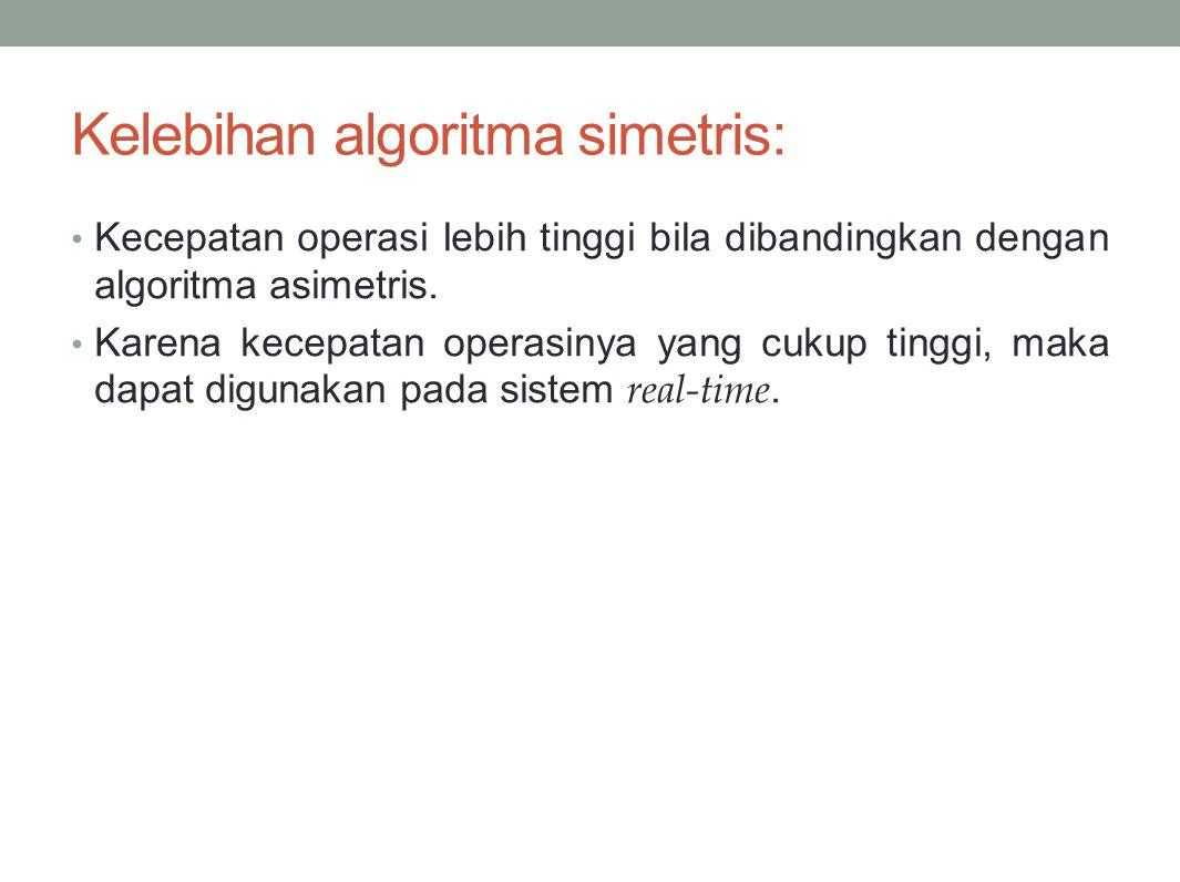 Kelebihan algoritma simetris: