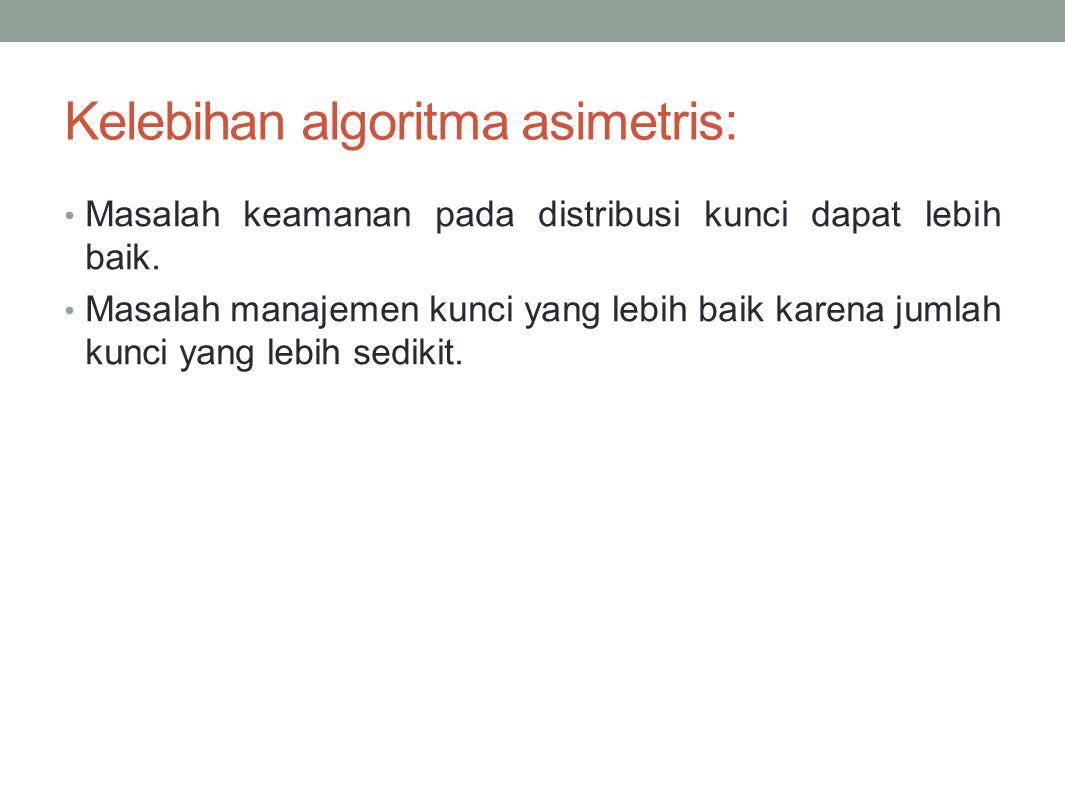Kelebihan algoritma asimetris: