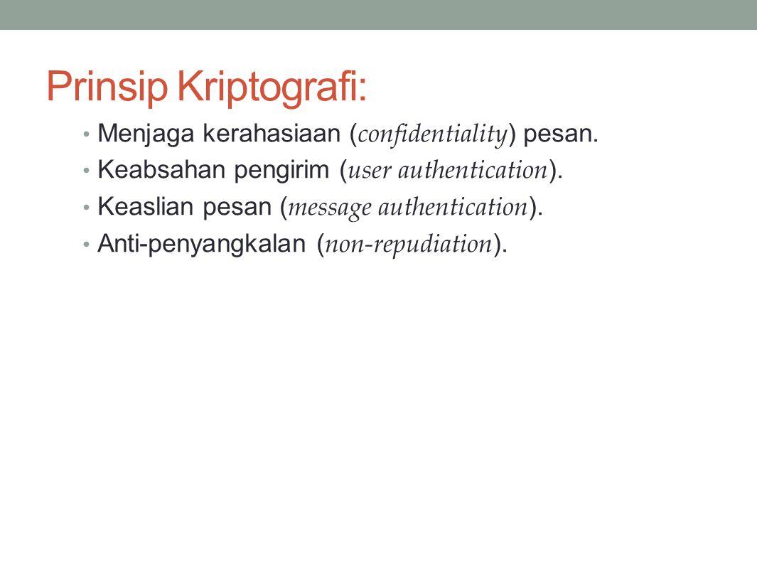 Prinsip Kriptografi: Menjaga kerahasiaan (confidentiality) pesan.