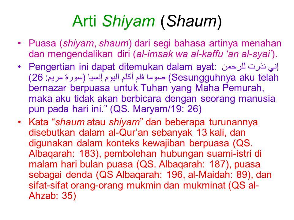 Arti Shiyam (Shaum) Puasa (shiyam, shaum) dari segi bahasa artinya menahan dan mengendalikan diri (al-imsak wa al-kaffu 'an al-syai').