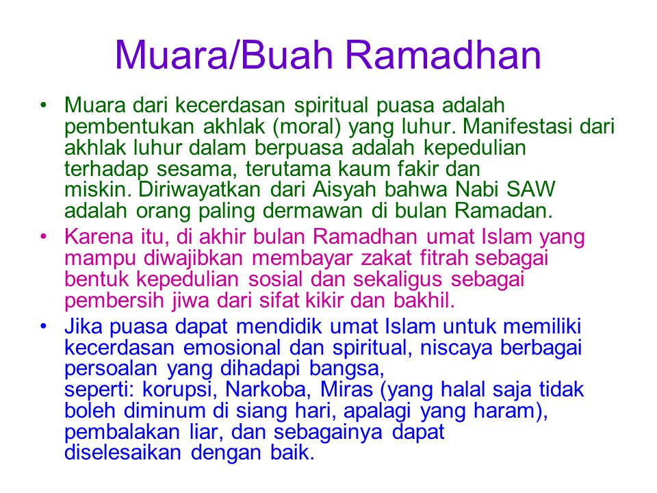 Muara/Buah Ramadhan