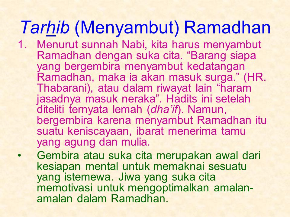 Tarhib (Menyambut) Ramadhan