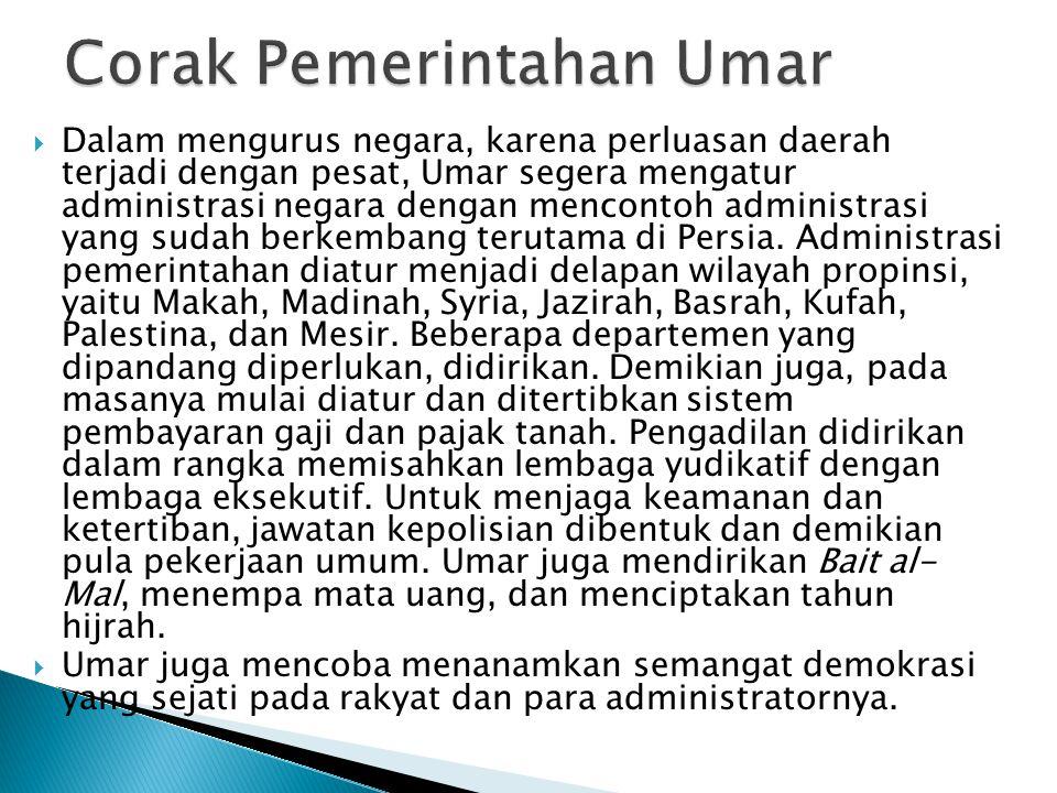 Corak Pemerintahan Umar