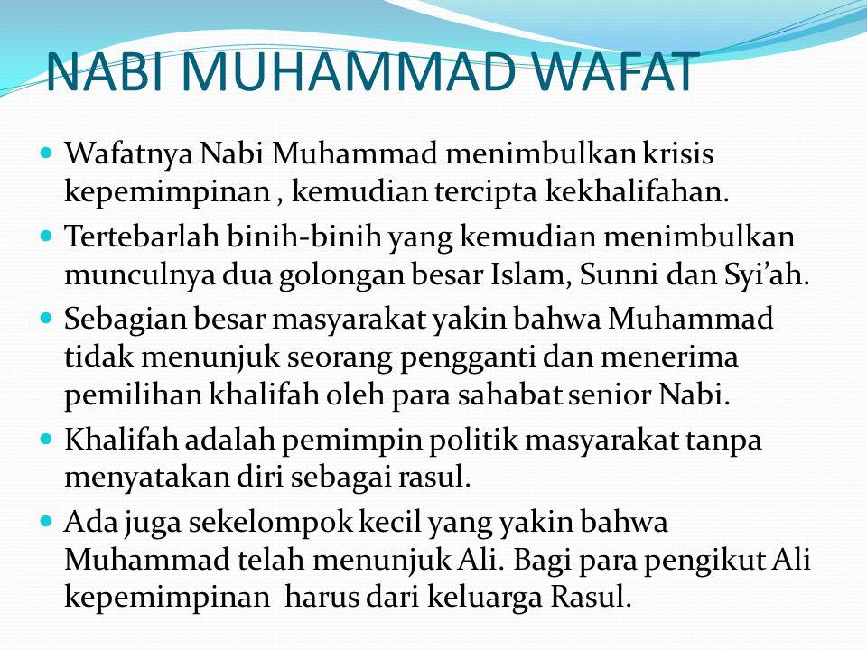 NABI MUHAMMAD WAFAT Wafatnya Nabi Muhammad menimbulkan krisis kepemimpinan , kemudian tercipta kekhalifahan.