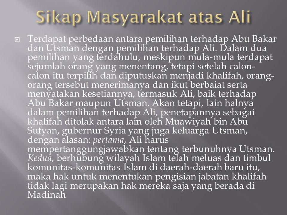 Sikap Masyarakat atas Ali
